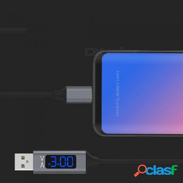 Pantalla lcd usb cable de datos de carga de carga rápida tipo c con pantalla de corriente y voltaje para teléfonos móviles android negro / 1m