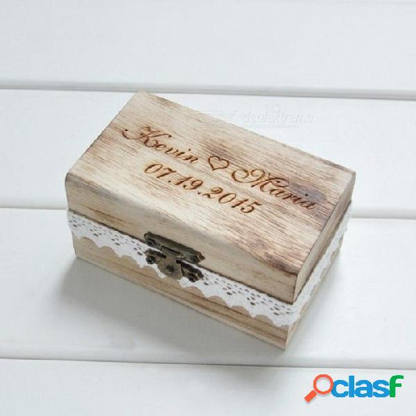 Regalo personalizado rústico anillo de bodas caja portador caja de madera anillo de bodas tamaño 10 * 6 * 5 cm material de madera a