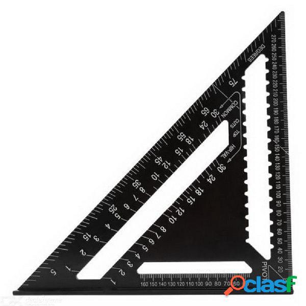 Regla de triángulo de alta precisión de 12 pulgadas para la herramienta de medición del transportador medidor de cuadrante de aleación de aluminio para trabajo en madera