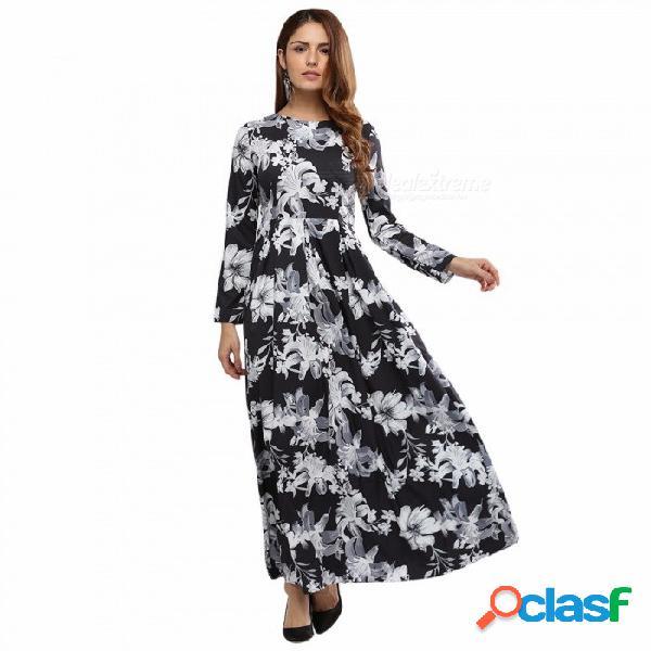 Vestido con estampado floral de manga completa con cuello redondo para mujer, vestido con estampado de estilo vintage que fluye para mujeres múltiples / s