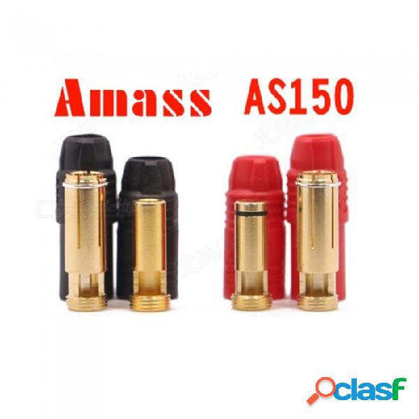 2 sets amass as150 chapado en oro 7mm hembra / macho enchufes banana con carcasas para batería de alto voltaje - rojo + negro