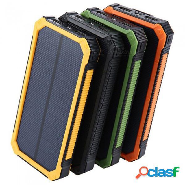 Banco portátil de energía solar de tres pruebas, batería externa de gran capacidad 20000 mah, doble alimentación usb con dispositivo móvil amarillo