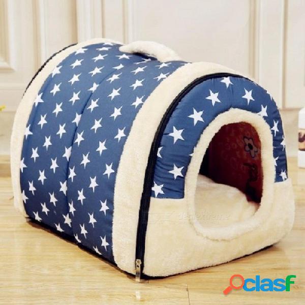 Casa nido multifuncional para perros con colchoneta plegable para mascotas cama para gatos casa de cama para perros pequeños y medianos viaje para mascotas bolsa para cama s / azul