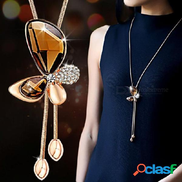 Clásico cristal mariposa borla collar largo mujeres bijoux joyería de moda collares y colgantes regalo azul