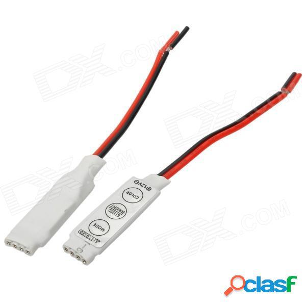 Controlador de 3 teclas para 5050 smd led / 3528 smd led / tira de luz led rgb - blanco + rojo + negro (2 pcs)