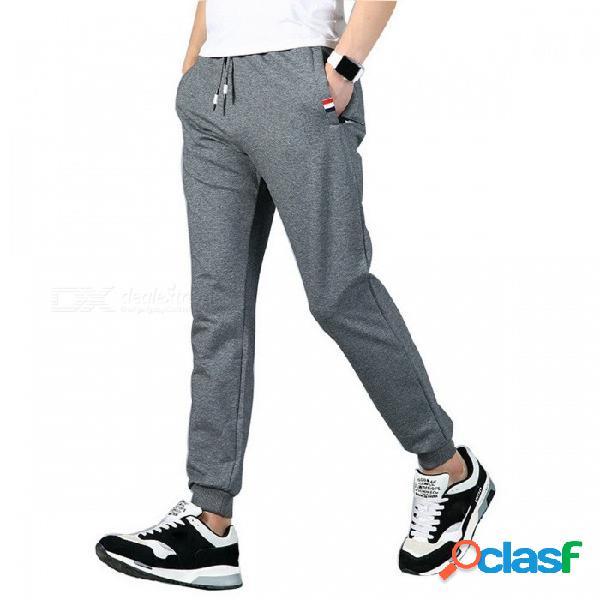 Deportes de los hombres pantalones deportivos de algodón flacos casuales pantalones de entrenamiento corriendo elástico cintura lápiz lápiz pantalones negro / m