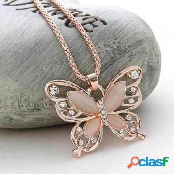 Oro rosa cristal acrílico 4cm mariposa grande collar colgante 70cm cadena larga suéter joyería para mujer oro