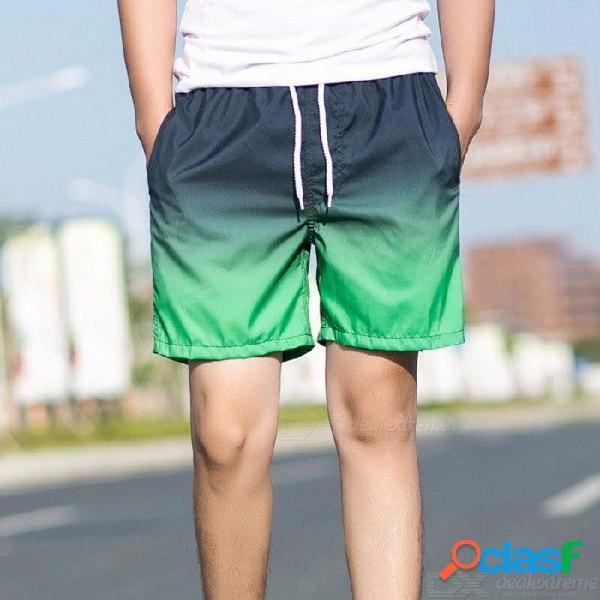 Pantalones cortos de secado rápido para hombres, pantalones cortos de verano, pantalones cortos y cómodos de playa con gradiente informal. - negro