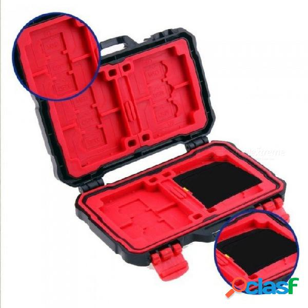 Soporte para tarjeta de memoria para tarjeta sd 4 cf 8 sdxc mspd xd 12 tf protector para caja de almacenamiento t-flash resistente al agua antichoque negro