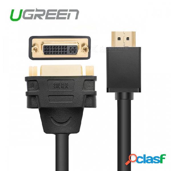 Ugreen hdmi a dvi 24 + 5 adaptador de cable, hdmi macho a dvi dvi-i adaptador de convertidor m-f femenino, soporte 1080p para hdtv lcd 15cm