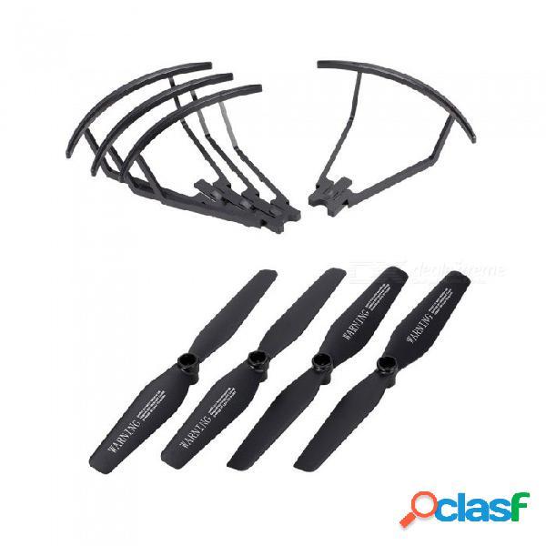 2 pares de hélices y 4 piezas de hélice anillo protector para visuo xs809 xs809hw xs809w hélices plegables rc quadcopter hélices negro
