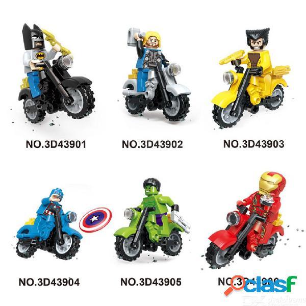 6 unids super heroes juegos de bloques de construcción de motocicletas juegos de ladrillos modelo para niños