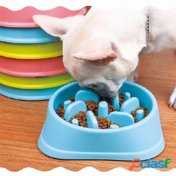 Alimentador de mascotas de plástico anti estrangulador perro perrito cachorro gato lento comer alimentador plato de dieta saludable selva diseño 3 colores multi