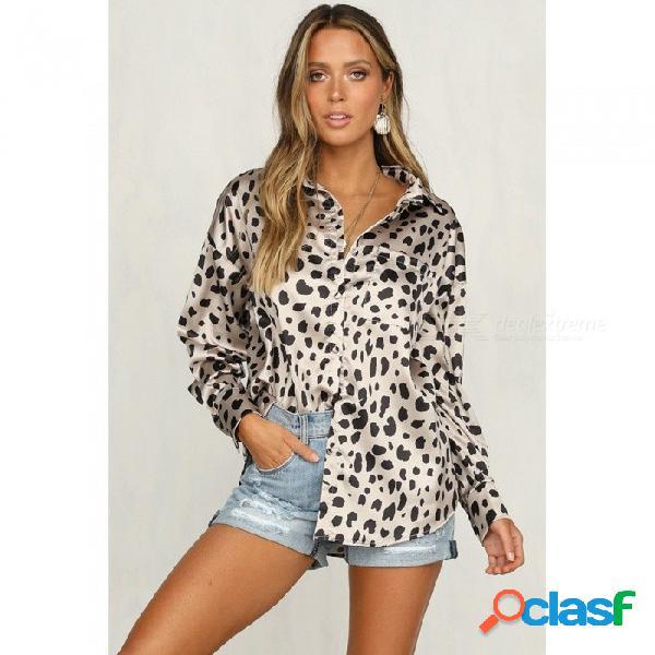 Camisa de manga larga con estampado de leopardo y estampado de manga larga para mujer casual suelta cuello de satén top blanco / s