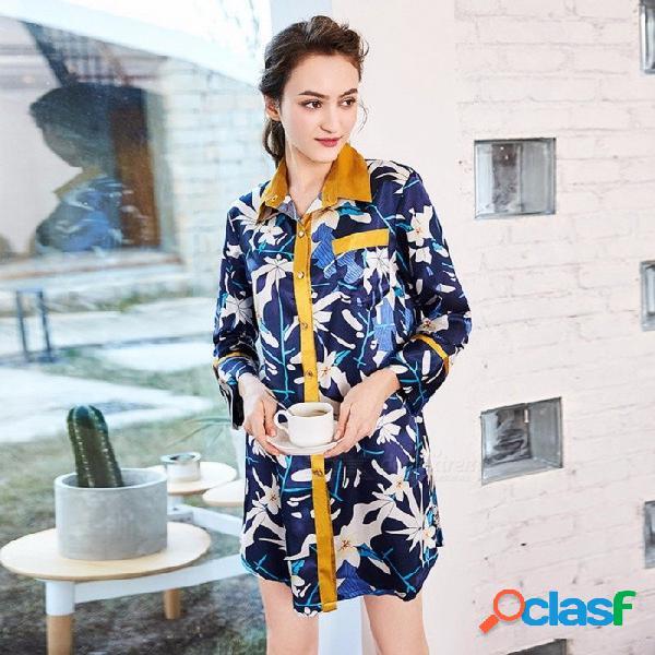 Estampado floral de las mujeres ropa de noche atractiva del verano falda de satén de seda ropa de dormir señoras vestido de noche camisón vestido de noche azul / m