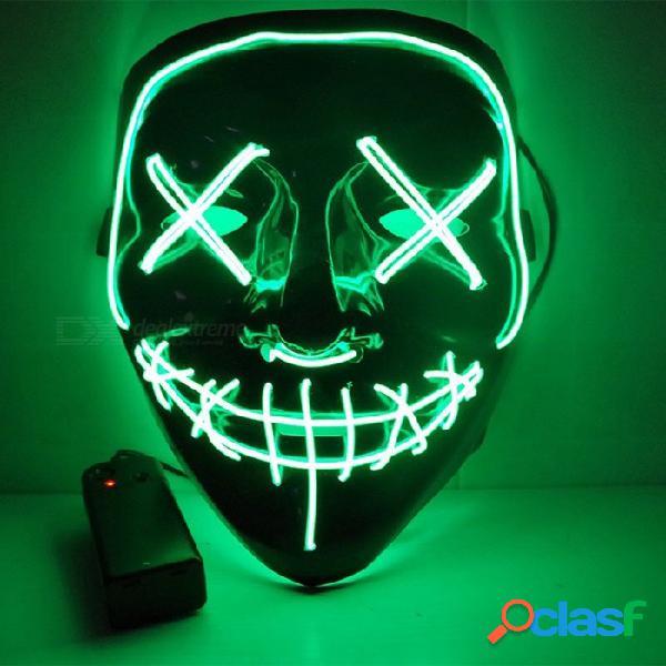 Halloween línea doble costura máscara de terror fiesta de fiesta brillante led resplandor máscara (g / 2 * aa)