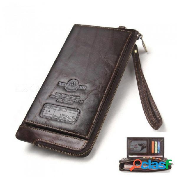 Hombres de moda billetera billetera de cuero genuino organizador masculino bolso de embrague del teléfono celular monedero largo rojo
