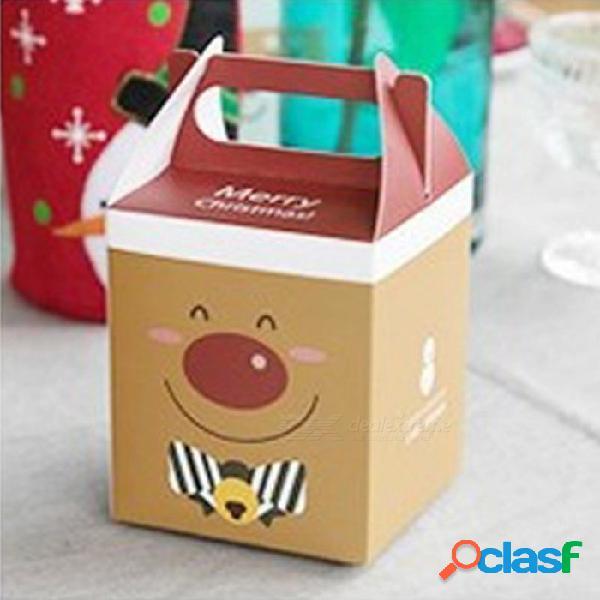 La caja de la manzana de la feliz navidad 20pcs / set, postre de la torta del partido dobló el bolso de empaquetado de papel para la decoración de la fiesta de navidad m / brown