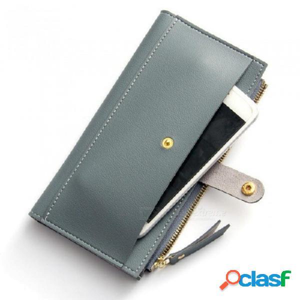 Largo sólido mujeres billeteras moda cerrojo billetera de cuero embrague monedero mujeres monedero monedero negro