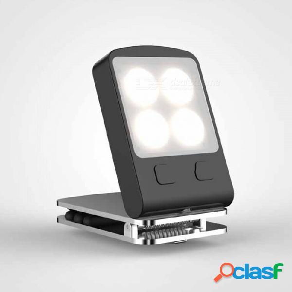 Luz de libro de lectura led con clip mini plegable, lámpara de luz de noche recargable con 4 modos usb con batería incorporada blanco / negro