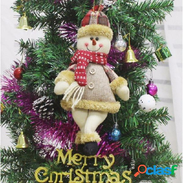 Muñeca de felpa de peluche muñeco de peluche bebé, muñeco de nieve decoración del árbol de navidad ornamento colgante blanco
