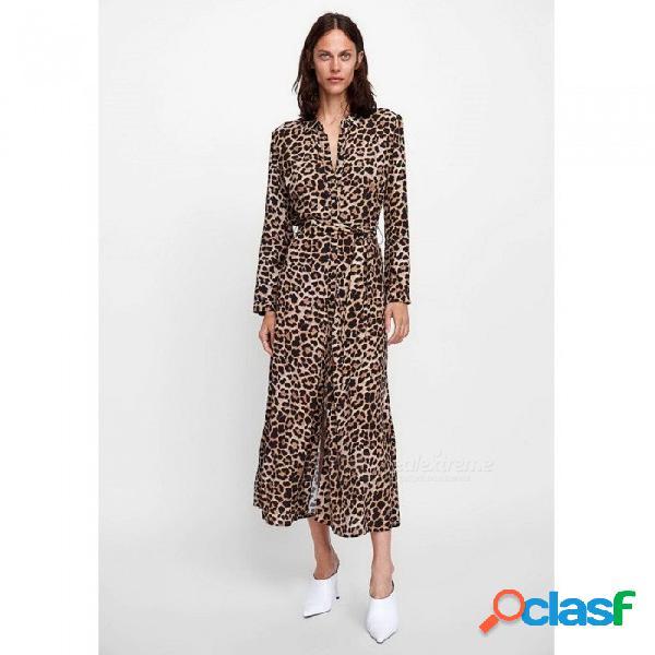 Vestido de manga larga con estampado de leopardo para mujer casual cuello abotonado botones hasta la camisa vestido leopardo / s