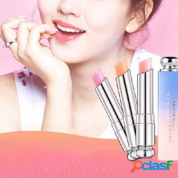 Belleza brillante cristal jalea barra de labios, magia cambio de temperatura color bálsamo para los labios, hidratación natural barra de labios naranja