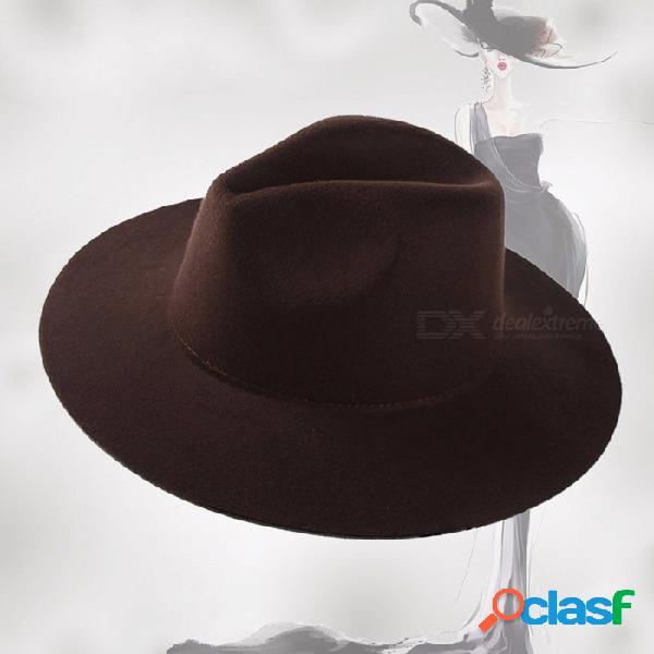 Gorro de moda de mujer, gorro de lana de ala ancha, sombrero retro fedora de época para el invierno de borgoña