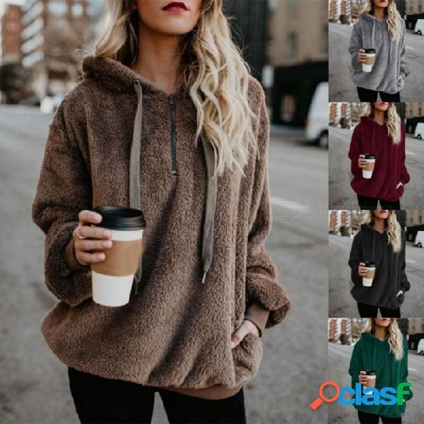 Otoño, invierno, color sólido, manga larga, flequillo informal, sudadera con capucha, suéter, sudaderas con capucha, jerseys para mujer niña negro / s