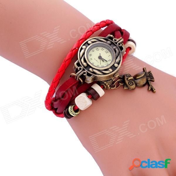 Qghe01 reloj de pulsera analógico de cuarzo con banda de cuero pu con estilo para mujer - bronce + rojo (1 x 626)
