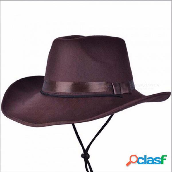 Sombrero de vaquero de lana casual de los hombres de las mujeres de moda, gorra fedora, moda unisex ala ancha sombrero panama sol negro