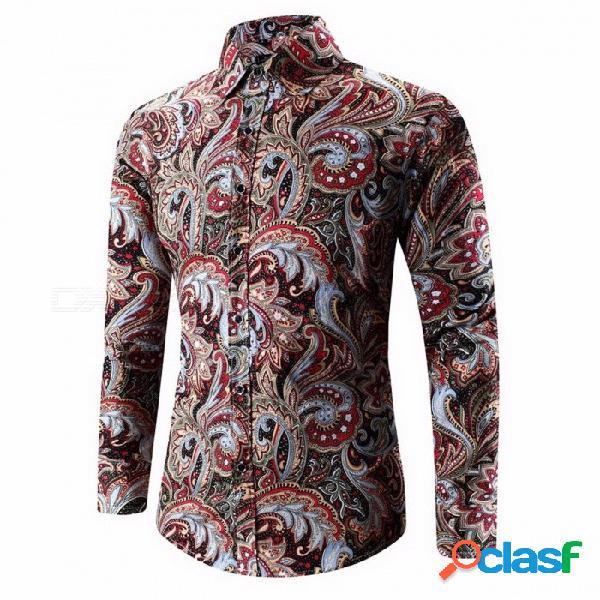 Alta calidad de verano nuevos hombres tie dye imprimir camisas de flores moda hombre slim fit sociedad retro camisa de manga larga - negro
