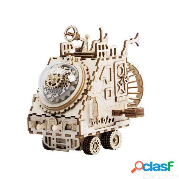 Creativo juego de rompecabezas 3d diy de madera mars sonda en forma de caja de música kit de construcción