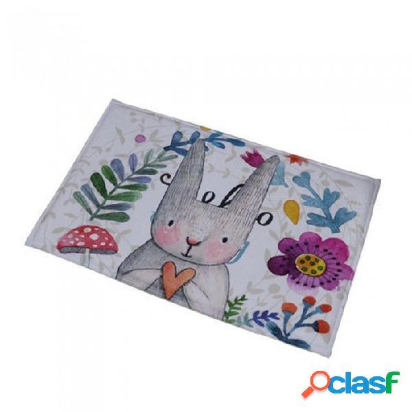 Cuarto de baño alfombra piso de la puerta antideslizante absorbente olor lindo impresión de conejo alfombra de baño alfombra de cocina alfombras felpudo 40x60 cm / flor morada