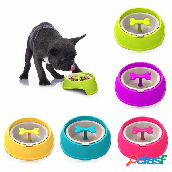 Divertido alimentador lento con forma de hueso, tazón de comida para perros, platos de tazón de agua para cachorros, perros grandes, mascotas, alimentación verde,