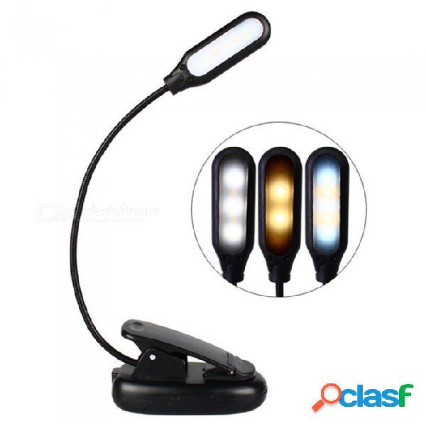 Luz de lectura portátil plegable con clip de 5 led para lectura de libro, lámpara de mesa con 3 modos de protección ocular de carga usb con cable negro / 0-5w