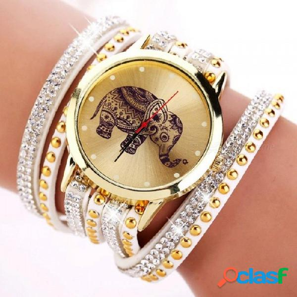 Patrón de elefante popular de la moda relojes de pulsera reloj de las mujeres vestido de joyería de cuarzo reloj de pulsera clásico xr955 marrón