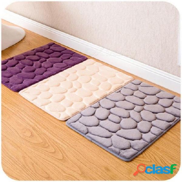 Coral vellón baño esteras absorbentes alfombra de espuma de memoria kit de baño patrón de baño antideslizante alfombras de piso conjunto de colchón 400mmx600mm / gris