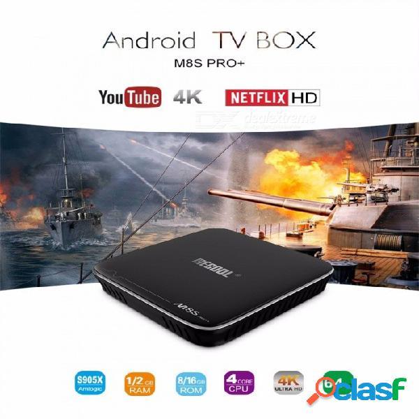 Mecool m8s pro + caja de tv inteligente para android, amlogic s905x 2gb ram 16gb rom 2.4ghz wifi 4k x 2k reproductor multimedia / decodificador hdmi