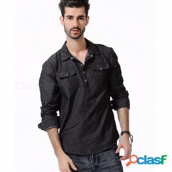 Nueva llegada de los hombres de manga larga camisa de mezclilla delgado estilo europeo informal de los hombres de color claro sección delgada camisas negro / m
