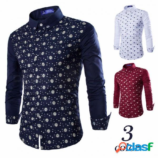 Otoño e invierno nuevas camisas de hombre de estilo europeo y americano estrellas de moda casual imprimir camisa de manga larga camisa azul oscuro / m