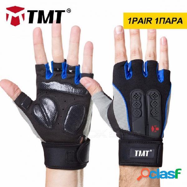 TMT guantes antideslizantes de silicona de medio dedo para el levantamiento de pesas gimnasio fitness entrenamiento deportivo xl / negro