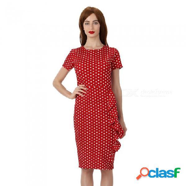 Vestido de mangas cortas con punto por encima de la rodilla y cuello redondo para mujer, vestido ajustado de punto con volantes laterales para mujeres rojo / s