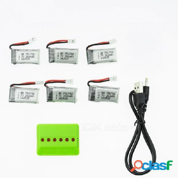 6 unids 3.7 v 260 mah li-po batería con 6 en 1 cargador para hubsan h107 h107c syma x5c jjrc h8 mini