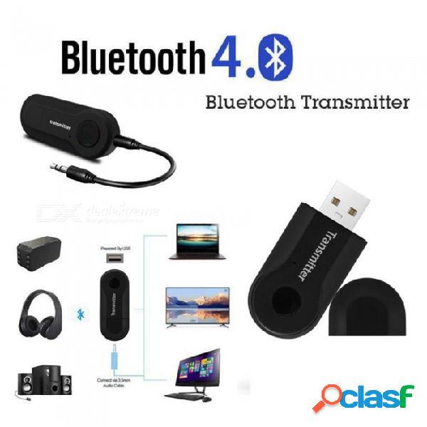 Adaptador de música de audio estéreo con transmisor inalámbrico bluetooth para pc de tv y teléfono - negro
