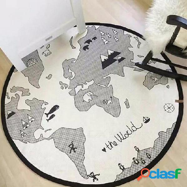 Aventura mapa del mundo juego almohadilla de arrastre estera de los niños sala de bebé niño gateando juguete alfombra 1350mm / blanco