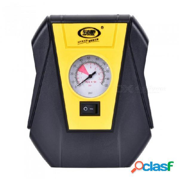 Bomba inflable de inflado de neumático de coche eléctrico portátil 12 v bomba de compresor de aire del coche bomba inflable de luz led para emergencias al aire libre amarillo + negro
