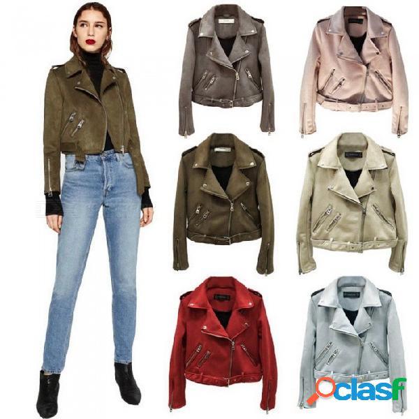 Chaquetas de cuero de color sólido de ante delgado corto de moda con cremallera abrigos de piel de venado para la ropa de mujer beige / s