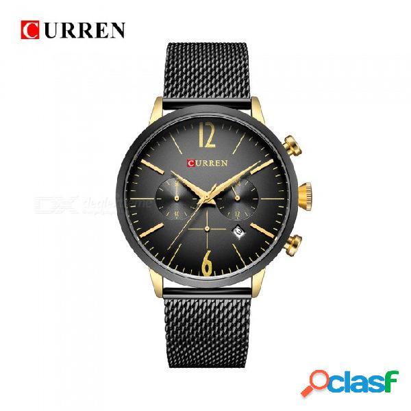 Curren 8313 reloj de pulsera de banda de metal analógico de cuarzo unisex de moda con dos esferas decorativas