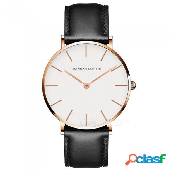 Hannah martin 3690-cb36 reloj de pulsera análogo impermeable de cuarzo para mujer con cuarzo ultra delgado y correa de cuero pu